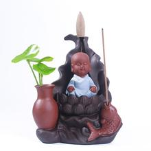 Incense Burner Smoke Waterfall Backflow Incense Holder Little Monk Ceramic Censer Creative Home Decor Mountain River Handicrafts little monk incense burner smoke waterfall backflow incense holder carp ceramic censer mountain river handicrafts incense holder