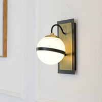 Нордический минимализм коридор светодиодный настенный светильник Гостиная блеск стекло глобусы бра черный металлический кронштейн Свет д