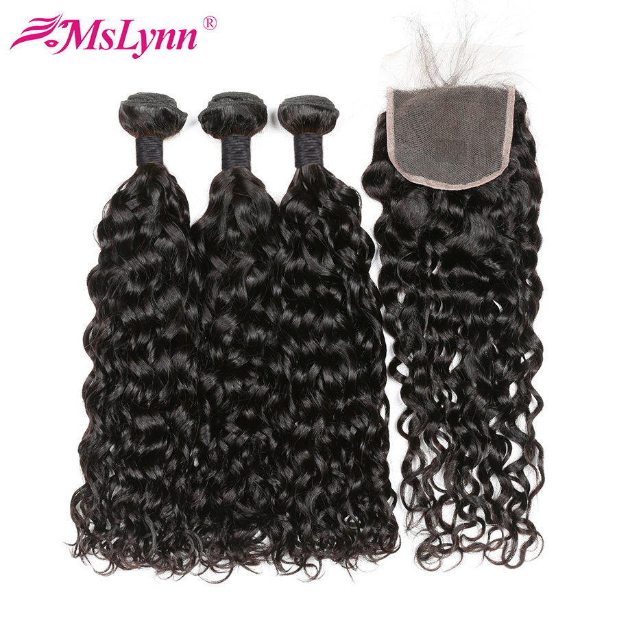Mslynn Malaysian Water Wave 3 Bundles With Closure Human Hair Bundles With Closure Remy Hair Extensions