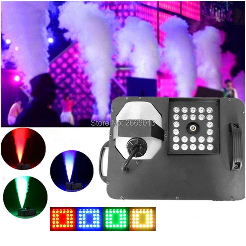 Professional LED 1500W RGB 3IN1 Fog Machine DMX512 /Wireless Remote Control Pyro Vertical Smoke Machine With 24x9W LED Lights
