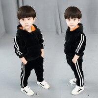 Brand Kids Clothes Sets Boys Winter Velvet Thickened Clothes Warm Kids Boys Clothing Sets Plus Velvet 2pcs Sport Suit 2 14Y