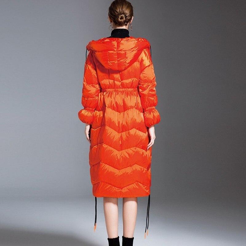 Taille Ls215 Black Chaud Mode Parka Pardessus Plume Femmes Capuchon À Plus Casual Manteau Long Mince orange Femelle Orange D'hiver La Down Veste A7RnxxS