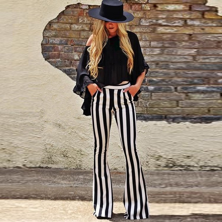 Women Striped Printed   Pant   Boho Flare   Pants   Elastic Waist Vintage Soft Stretch Ethnic Style Bell Bottom Hippie   Pants