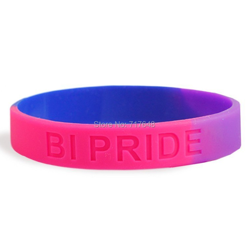100pcs Bisexual Pride wristband silicone bracelets free shipping by epacket A
