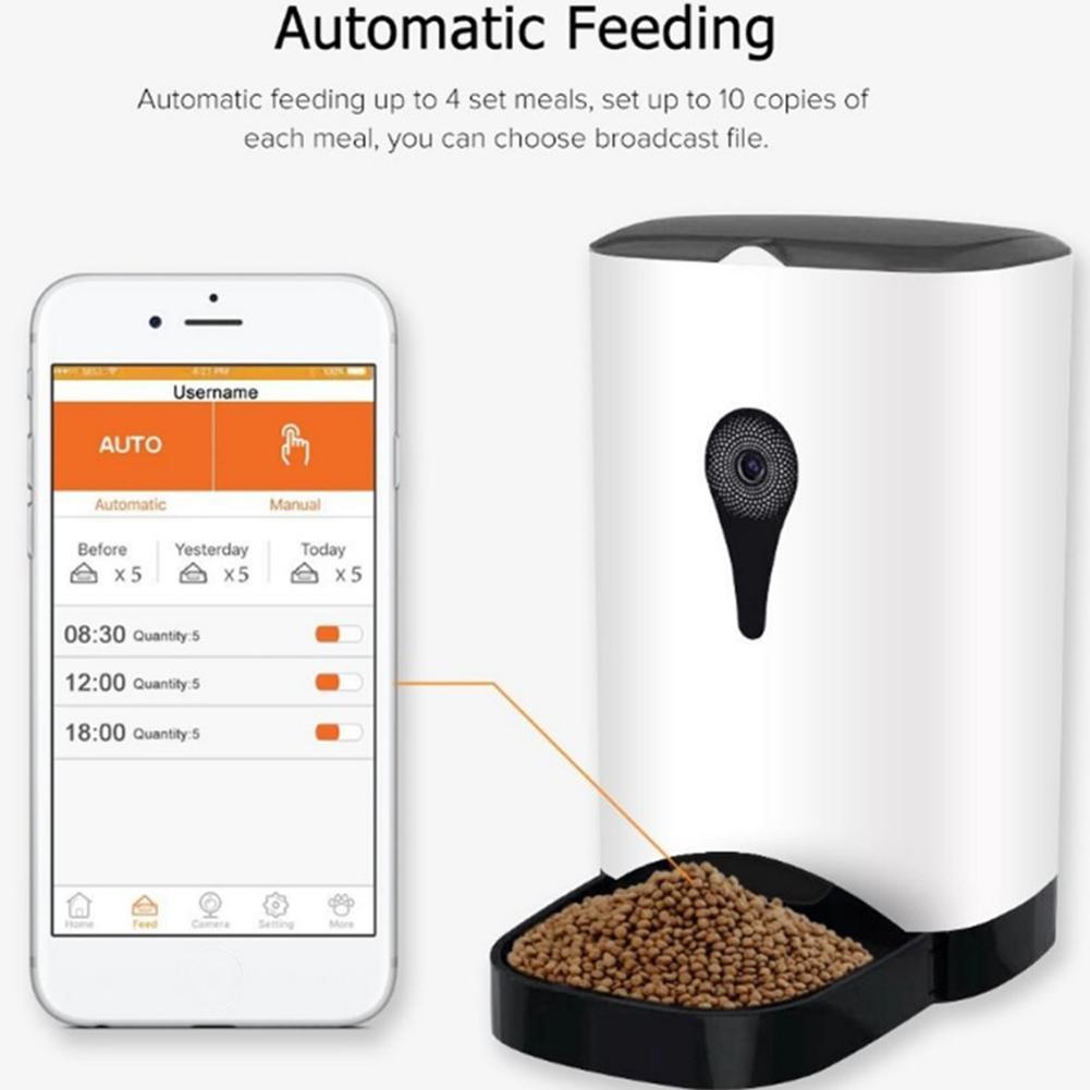 Ue 4.5L Alimentatore Dell'animale Domestico Wifi a Distanza di Controllo di Modo Intelligente Alimentatore Automatico Dell'animale Domestico Cani Cibo per Gatti Ricaricabile con Monitor Video - 3