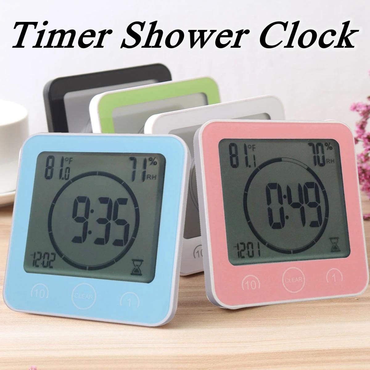 Digitale Badezimmer Uhren Thermometer Hygrometer Lcd Saugnapf Wasserdichte  Dusche Uhren Temperatur Feuchtigkeit Meter Alarm