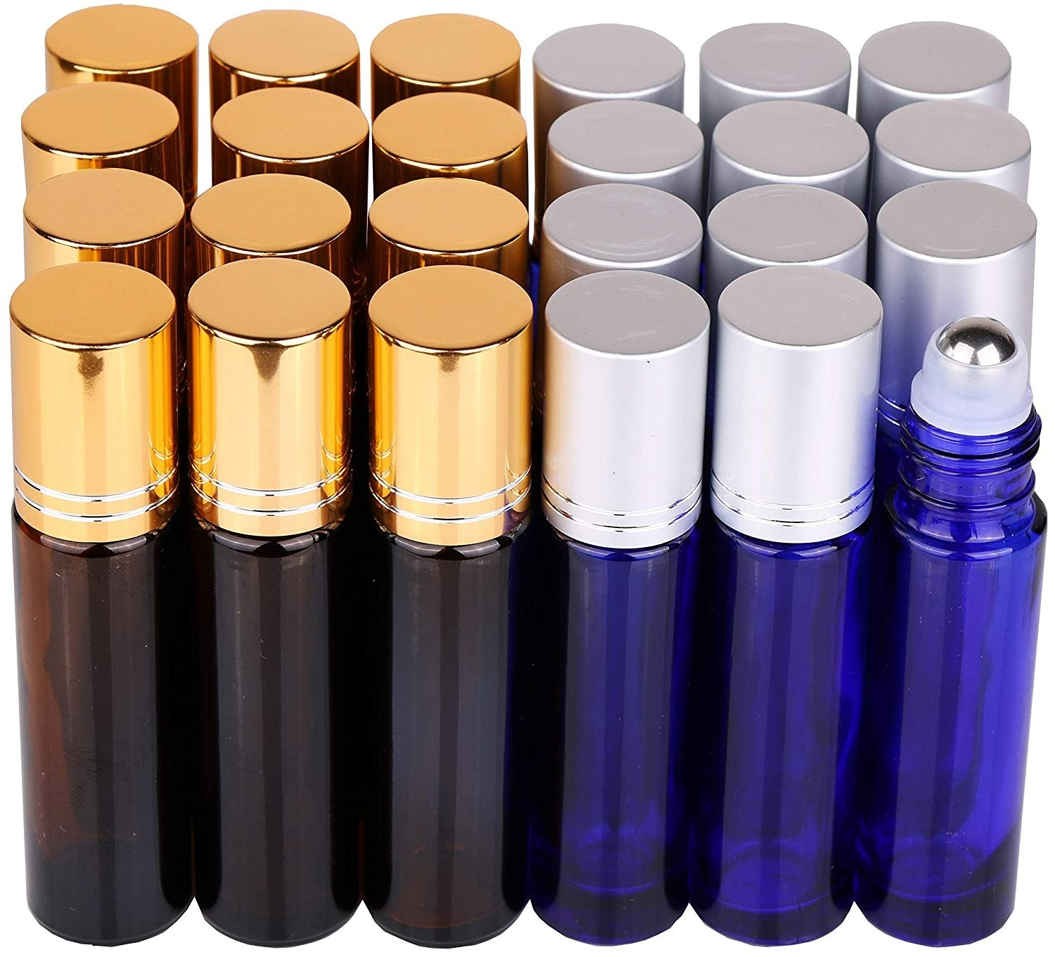 24 Pack 10ml Thick Glass Roller Bottles with Big Steel Ball Roll on Bottle for Essential Oil Perfume + Droppers 3 + Opener 2