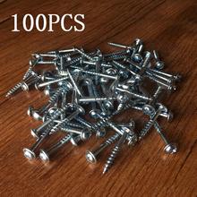100 sztuk wkręty samogwintujące o wysokiej wytrzymałości wkręty samogwintujące do systemu Kreg Jig narzędzie do obróbki drewna do kieszeni tanie tanio Maszyny do obróbki drewna iron NONE CN (pochodzenie) as picture ST4-27 25mm ST4-30 27mm Wspólne paznokci Pocket Hole Screws