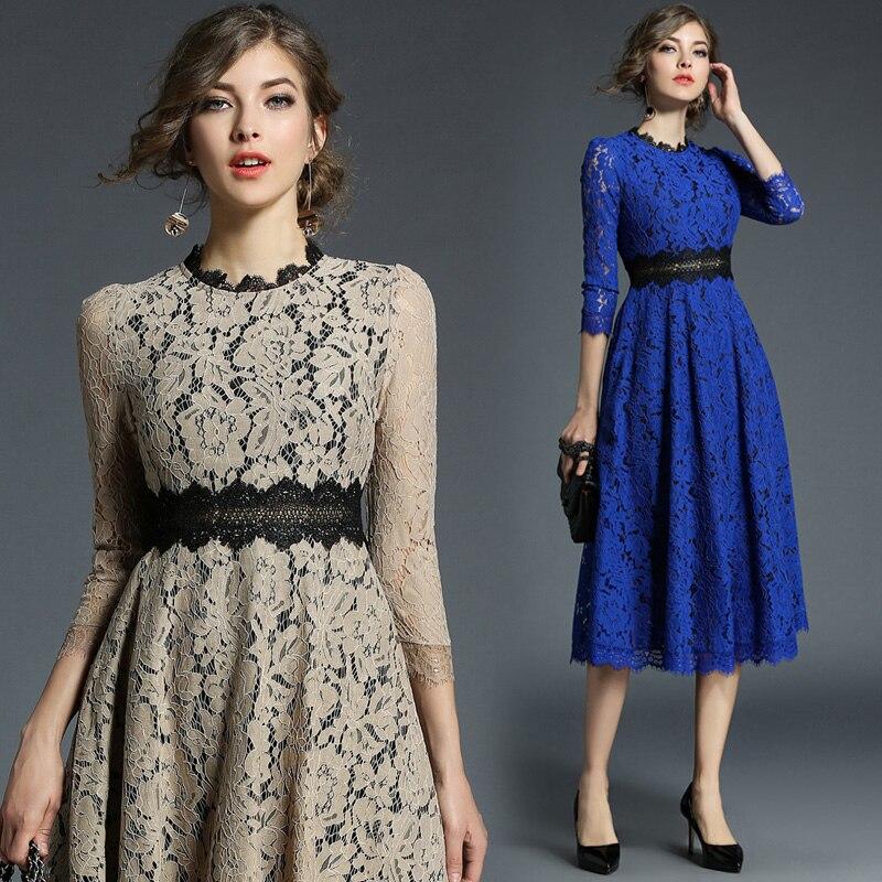 2019 New Spring Women dress Patchwork Hollow Out Lace Wind Hook Flower Dresses Khaki Blue 8109