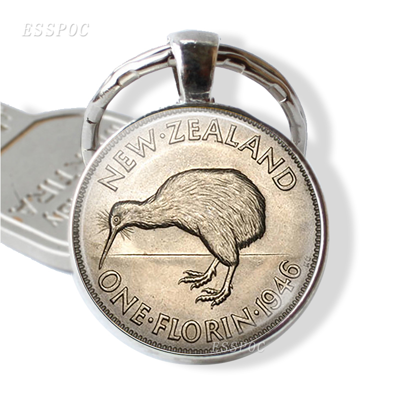 New Zealand Coin Image Key Chain,glass Literary Silver Plated Jewelry, Image Of A Vintage New Zealand Florin Bird 1946 Key Ring