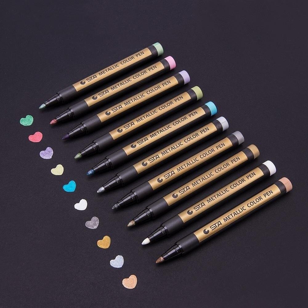 STA10 Farben Feinen Metallischen Marker Farbe Stifte für Rock Malerei-Keramik malerei mark DIY Marker Stift Art Marker Für schreibwaren
