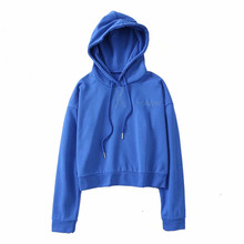 2019 spring and summer new solid color wild casual street style hooded womens letter embroidered