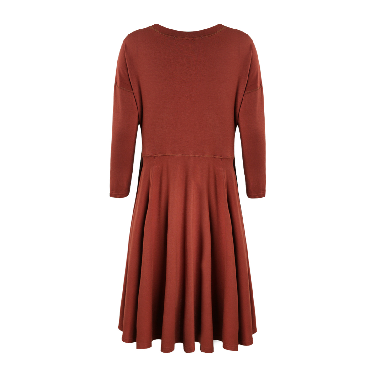 HYH HAOYIHUI Two Sided Sexy Split Bottom Dress Long Sleeve Red Solid Draped Dresses O Neck New Arrival Spring Prairie Chic in Dresses from Women 39 s Clothing