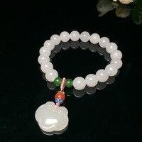 2020 Rushed Erkek Bileklik Bileklik Hetian Baiyu 10mm Bead Bracelet With Hand St And For Ping'an Long Life Hanging Beads