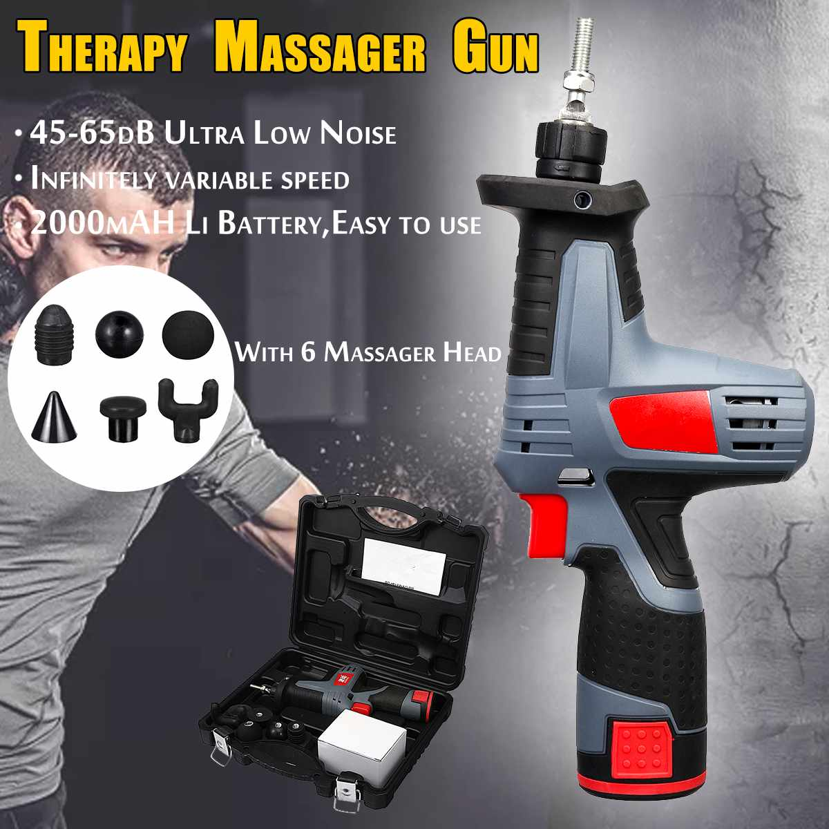 6 pistolet de Massage musculaire pistolets de Fascia professionnels masseur de Relaxation musculaire Gym haute fréquence Vibration pistolet de Massage à Percussion