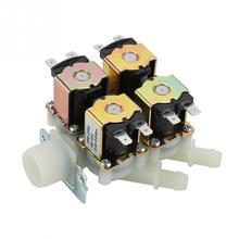 Электромагнитный клапан DN20, постоянный ток 12 В, G3/4 дюйма, 1 в 4 выхода, пластиковый, нормально закрытый, сливной клапан, Электрический соленоид на входе воды
