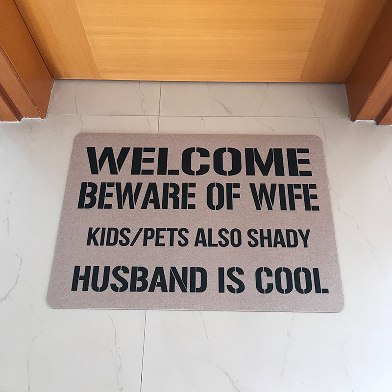 Rubber Doormat Entrance Floor Mat Funny Doormat Welcome Beware of Wife Kids Pets Aslo Shady Husband Cool Outdoor Rubber Door Mat image
