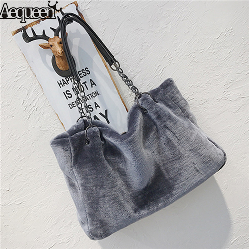 AEQUEEN Feminine Bolsa Luxury Faux Fur Bags For Women Winter Handbag Large Capacity Shoulder Bag Females Tote Top-handle Bag