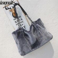 AEQUEEN Feminine Bolsa Luxury Faux Fur Bags For Women Winter Handbag Large Capacity Shoulder Bag Females Tote Top handle Bag