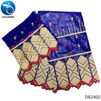 LIULANZHI bazin riche getzner cotton fabric for dress blue fabrics for patchwork material with laces 7yards/lot 2019 latest DB24
