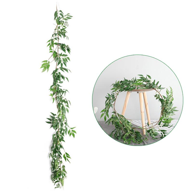 1Pcs 1.7m Green Artificial Fake Hanging Vine Plant Leaves Garland Home Garden Wall Decoration Dropshipping image