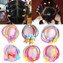 5PCS Candy Color Headband Flower Bow Cartoon Children Pink Hair Accessories Elastic Bands Baby Girl Gift Hairbands