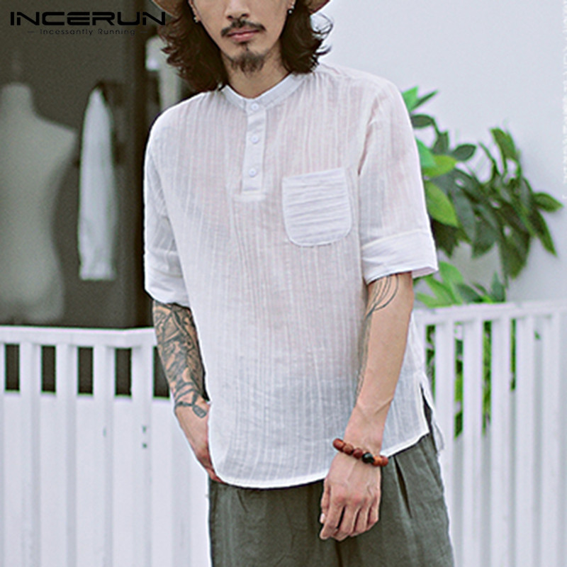 INCERUN Casual Shirts Men Dress Shirt Short Sleeve Henley Collar White Camisas Masculina Chemise Femininas Men Clothing Vacation