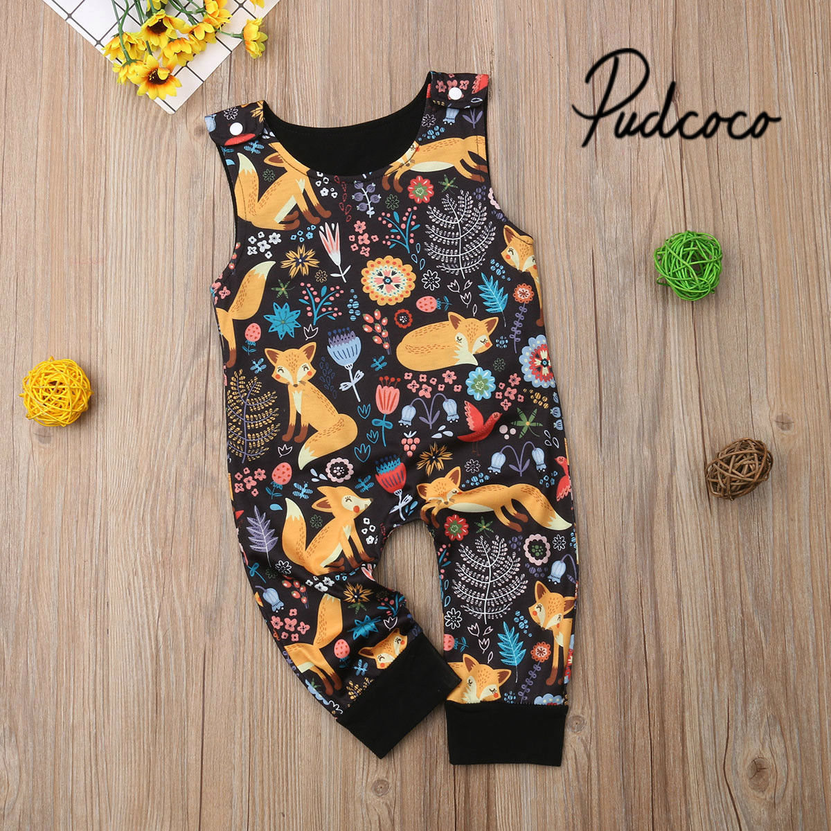 ed27b62d95e9 Fox Baby Girl Rompers Fashion Spring Newborn Baby Clothes For Boys  Sleeveless 0-18M Kids