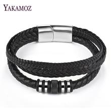 Trendy Men Multilayer Leather Braid Bracelet Stainless Steel Magnetic Clasps WristBand Punk Male Party Gift Jewelry Accessories цена и фото