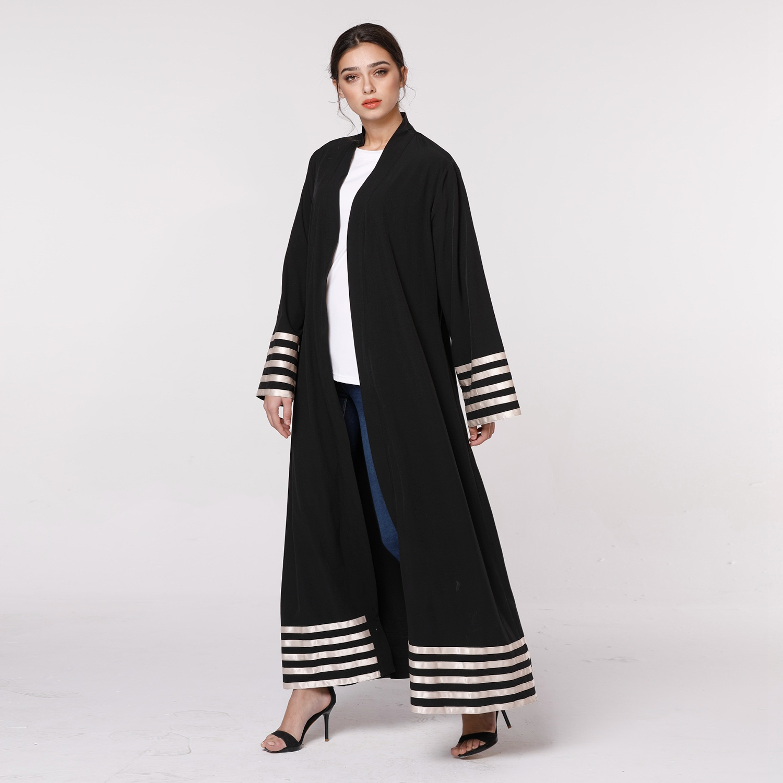 Womens Cardigan Abaya Spring Autumn Long Sleeve Striped Patchwork Loose Plus Size Dress Muslim Malaysia Abaya Dubai Kaftan Tur in Dresses from Women 39 s Clothing
