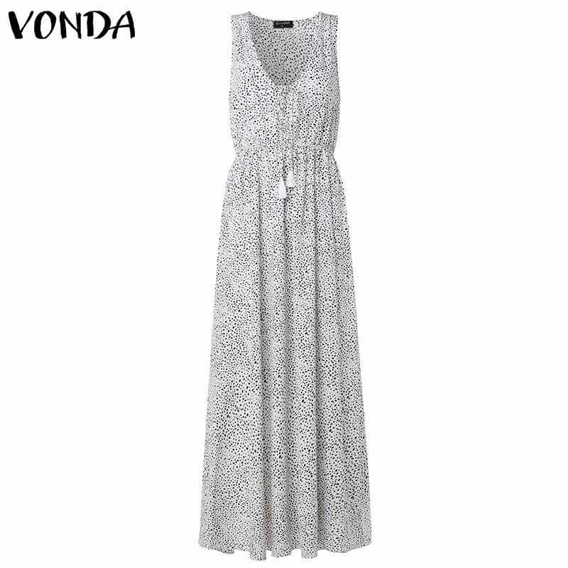 VONDA богемное Платье женское 2019 Лето v-образный вырез без рукавов в горошек с принтом в пол длина Vestidos праздник макси длинные платья плюс размер