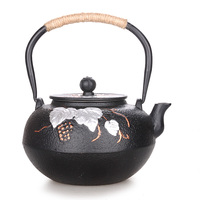 Teaware kettle Japanese cast iron teapot handmade grape double belt filter cooking Chinese kungfu tea pot with strainer 1.4L