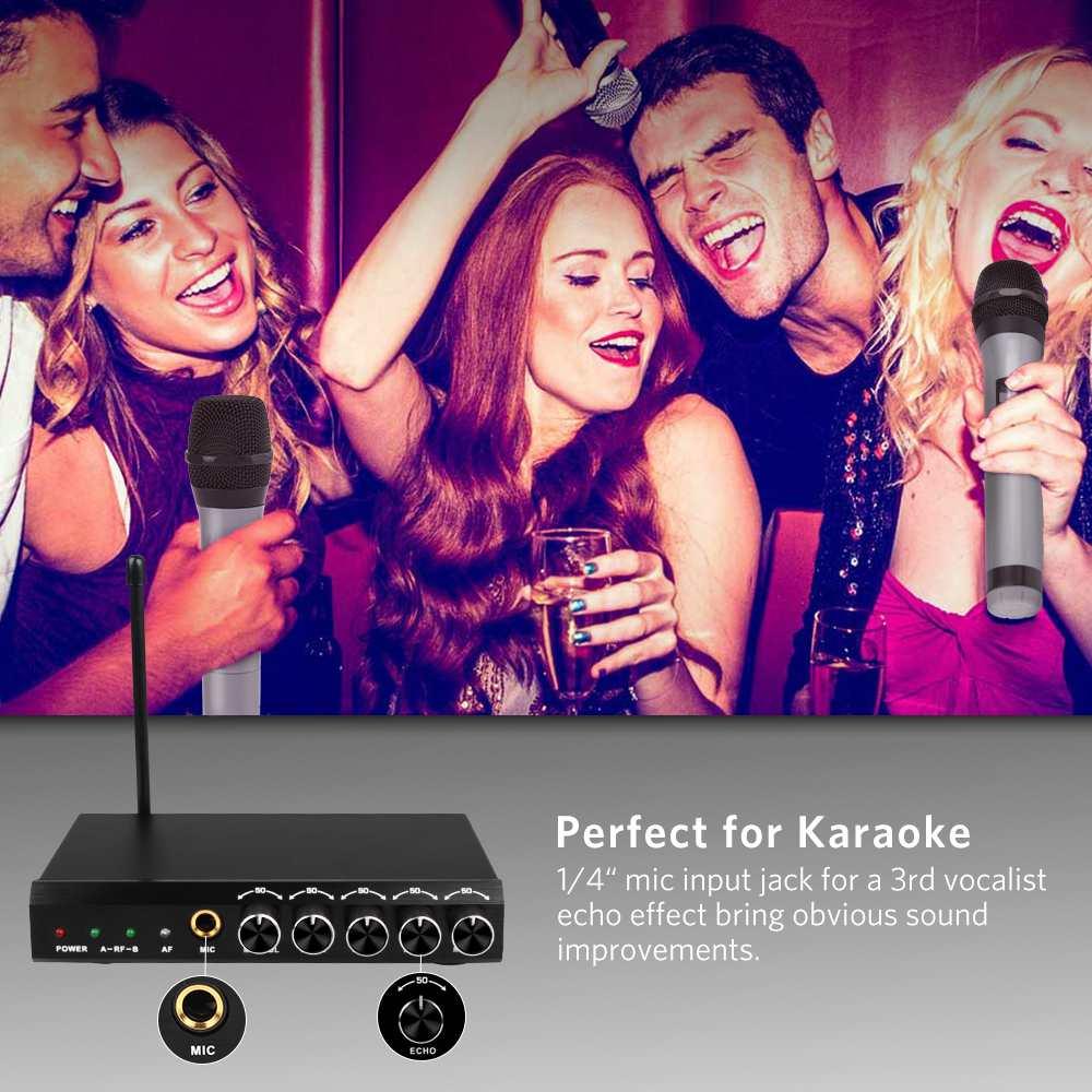 ARCHEER Drahtlose bluetooth Mikrofon System VHF Dual Chanels Handheld Mikrofon Systeme Mini Tragbare Singen Mixer Karaoke - 6
