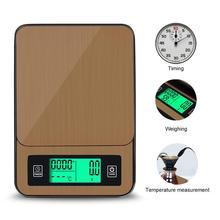 New High Quality 2KG/0.1g Stainless Steel Mini Digital Kitchen Food Scale Timer Coffee Scale with USB Temperature Probe