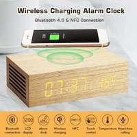 Wireless Charging Alarm Clock Bluetooth Speaker with Wood Grain Design and Bright LED Display For iPhone X Hands Free Calling