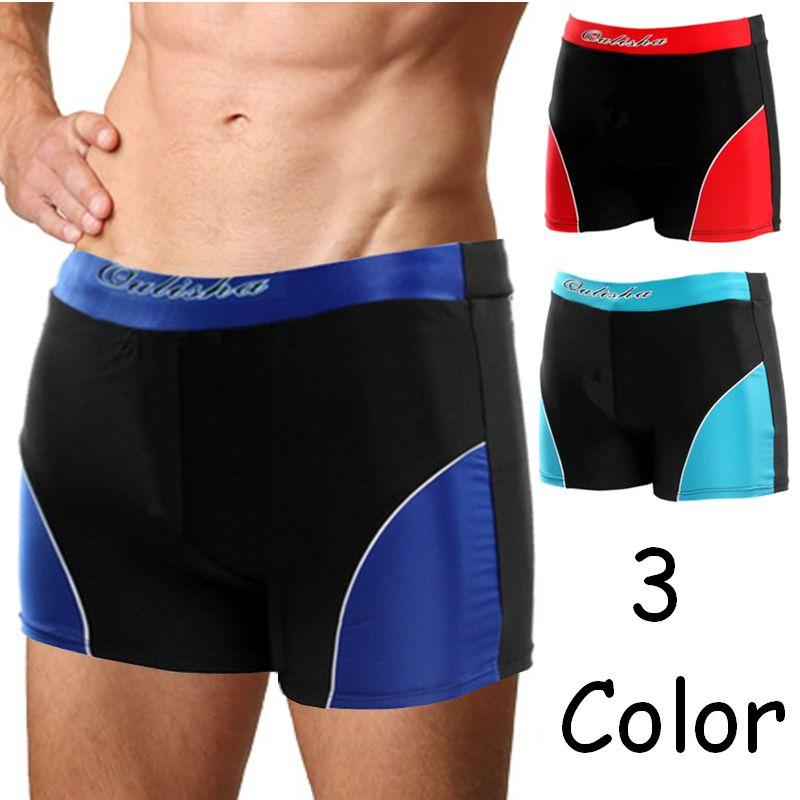 Summer Sports Swimming Underwear Men Sexy Flat Patchwork Low-waist   Shorts   Slim Fit Beach   Board     Shorts   Trunks Swimwear Beachwear