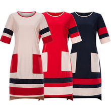 Joineles Plus Size Patchwork Women Straight Dress 6XL Round Neck Short Sleeves Female Office Vestidos Work Dress Casual Dress(China)
