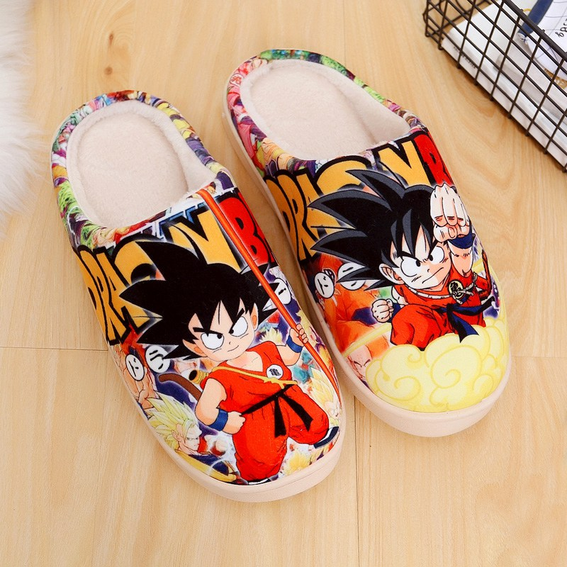 Japanese Anime Shoes Dragon Ball Son Goku Winter Warm Plush Men Women Shoes Home Slippers Free Shipping