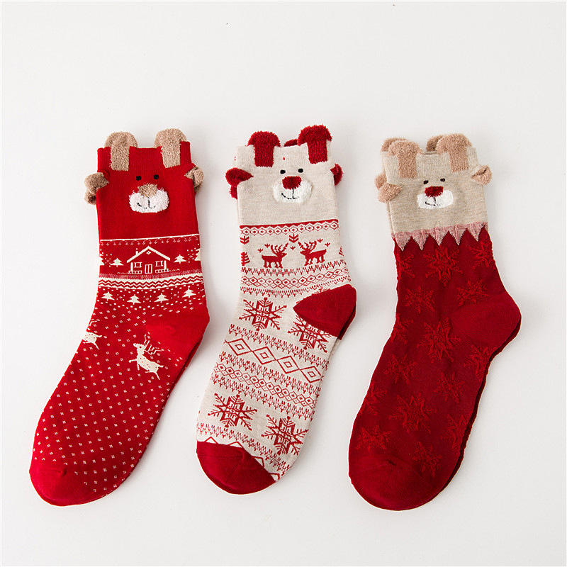 Frauen Winter Warm Soft Cotton Socken Santa Claus Deer Weihnachten Mode