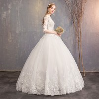 2019 New Arrival Dream Vintage Self cultivation half Sleeve Lace Bride Together Land Wedding Dress Ball Gown