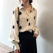 Women Tops New Fashion Female Long Sleeve Chiffon Blouse O-Neck Black Dot White Feminine Blusas  Top