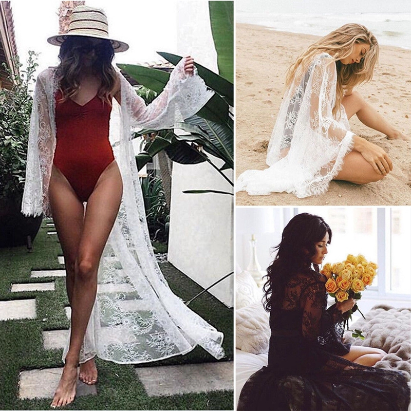 Sexy Women's Bathing Lace See Through Long Sleeve Bikini Cover Up Swimwear Summer Beach Dress