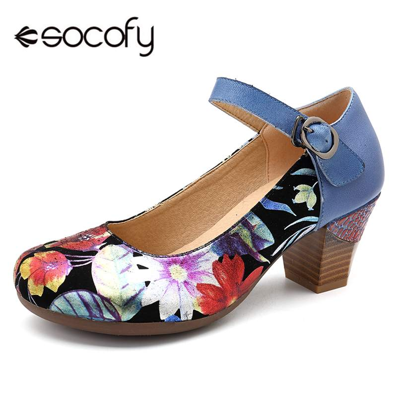 Socofy Retro Genuine Leather Women Pumps Shoes Woman Spring Fall Ankle Buckle Strap Block High Heels Flower Printed Ladies Shoes