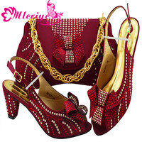 Latest Women Shoes and Bag Set In Italy Nigerian Women Wedding Shoes and Bag Set Decorated MM1077 WINE Womens Shoes Heel