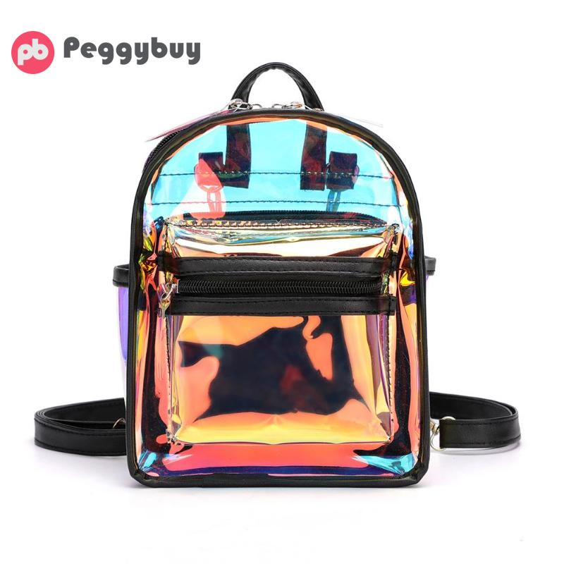 New Fashion Clear See Through PVC Mini Backpack Women Teenager School Book Bag Laser Jelly Transparent Mini Travel Bags Mochila
