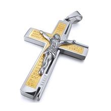 Нержавеющая сталь кулон ожерелье серебро Иисус Распятие Крест библейские лорды молитва мужчин, 23 дюймов цепи