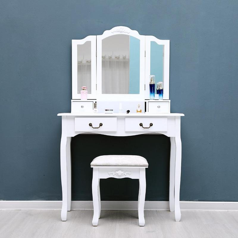 san francisco b7acb d662b US $136.99 29% OFF|Dressing Table with Dressing Stool Foldable 3 Mirrors 4  Drawers Makeup Desk Jewelry Cosmetics Storage Box Bedroom Furniture-in ...