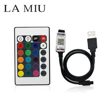 LED RGB Controller IR Bluetooth More features USB 24 key Remote controller DC 12 V For 5050 3528 LED Strip of Home TV Decoration(China)