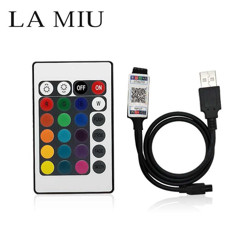 LED RGB IR Controlador Bluetooth Mais características USB 24 chave Controle Remoto DC 12 V Para 5050 3528 LED Strip de Decoração de Casa TV