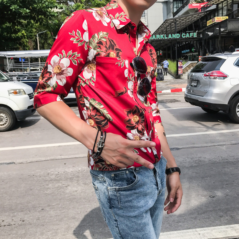 2019 Men Shirt Casual Slim Fit Flower Print Men 39 s Social Shirts Half Sleeve Night Club Party Shirt Streetwear Camisa Masculina in Casual Shirts from Men 39 s Clothing